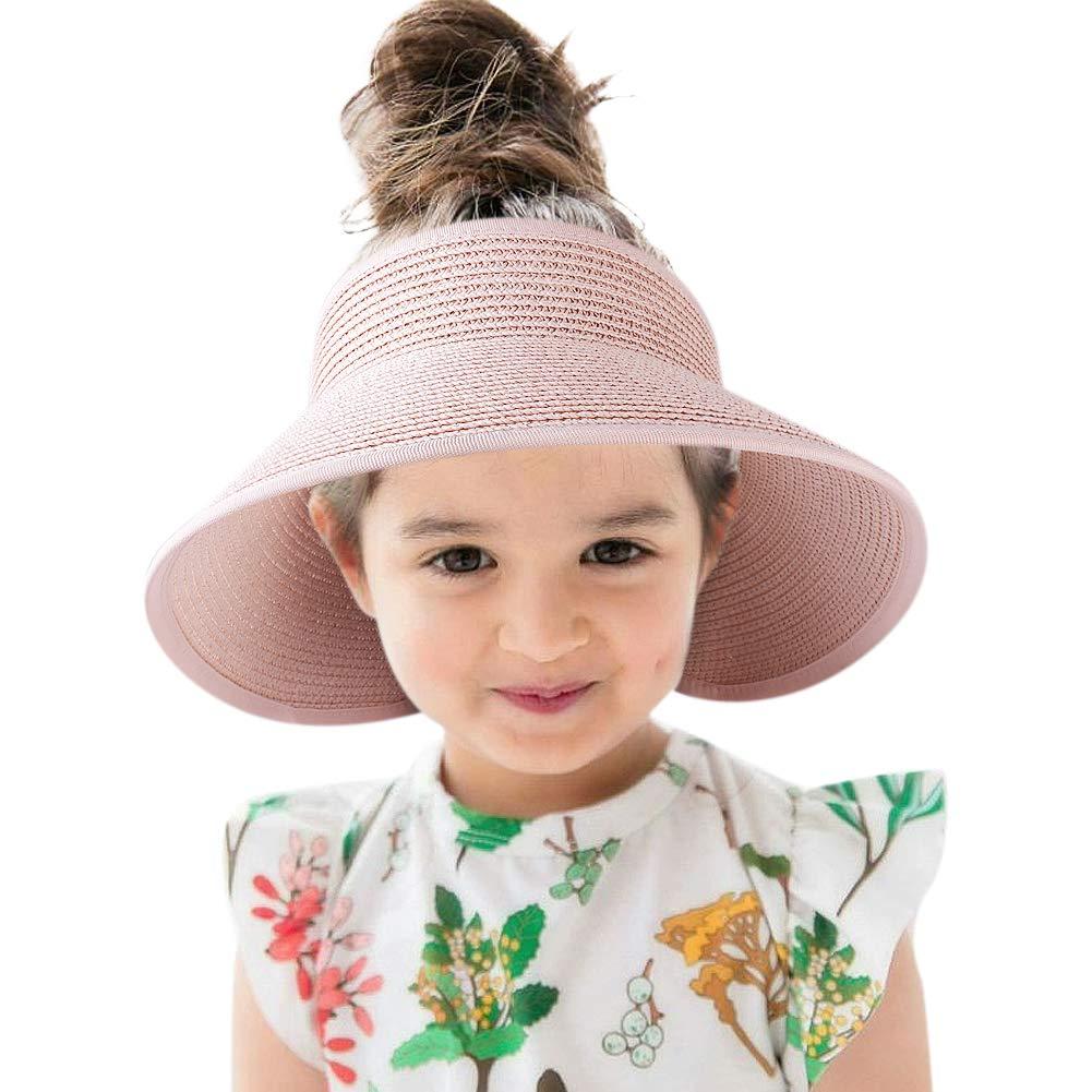 Sun Visor Kids Straw Hat Wide Brim Roll Up Summer Toddler Beach Hats Boy Girl Pink by camptrace (Image #1)