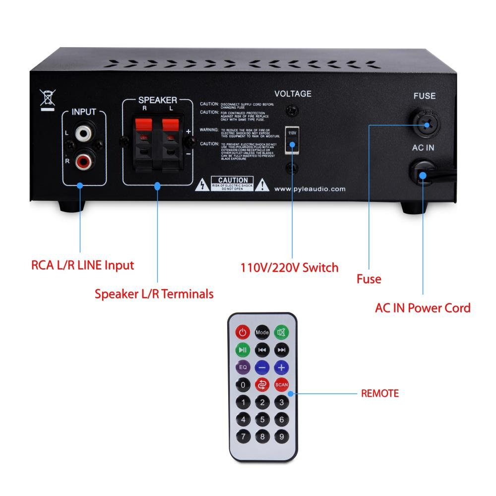 Home Audio Power Amplifier System 2x120w Dual Channel Indicator For Theater Stereo Receiver Box Surround Sound W Usb Rca Aux Led Remote
