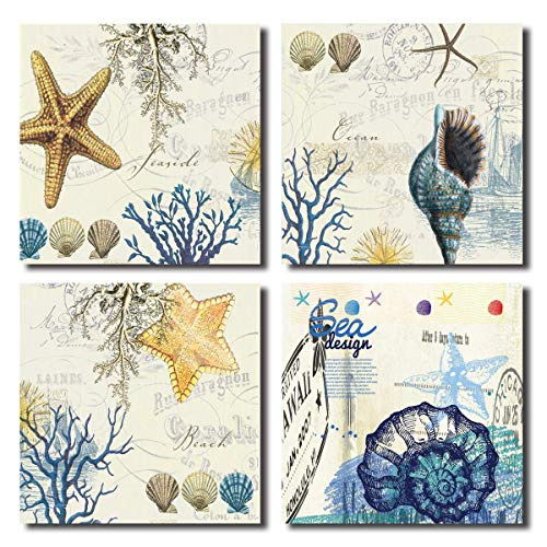 Blue Seashell Starfish Wall Art Decor Contemporary Seascape Canvas Print Painting for Home Bathroom (Blue, 12x12inchx4pcs)]()