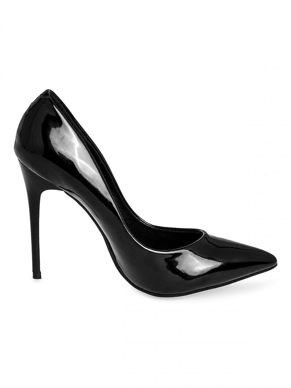 Chaussures à bout pointu Caspar Fashion noires Sexy femme 888De