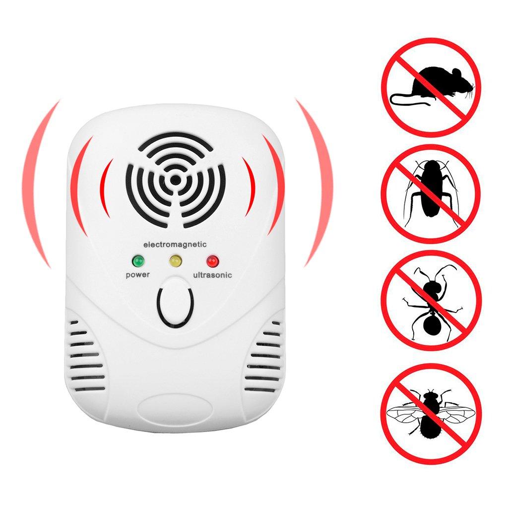 NNDA CO Ultrasonic Indoor Electronic Anti Mosquito Rat Mice Pest Bug Repeller EU/US Plug, ABS(White)