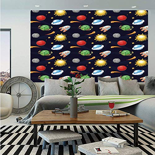 SoSung Space Removable Wall Mural,Cartoon Style Cosmos Themed Illustration Sun with Stars Planets and Space Rocket Decorative,Self-Adhesive Large Wallpaper for Home Decor 66x96 inches,Multicolor