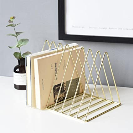 FOONEE Triangle Book Rack Magazine Holder, 9 Sections Iron Art Vintage  Desktop File Organizer Storage