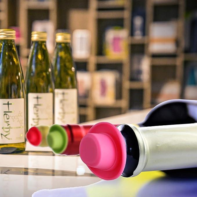 Silicona tapón para botella de vino con tapones de corcho, con Set de 6 Rainbow Colored Fits para sellar y preservar su vino favorito: Amazon.es: Hogar
