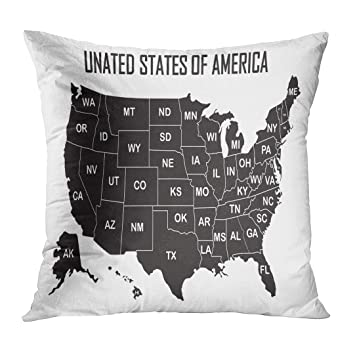 Amazon.com: Throw Pillow Cover City Map of United States America ...