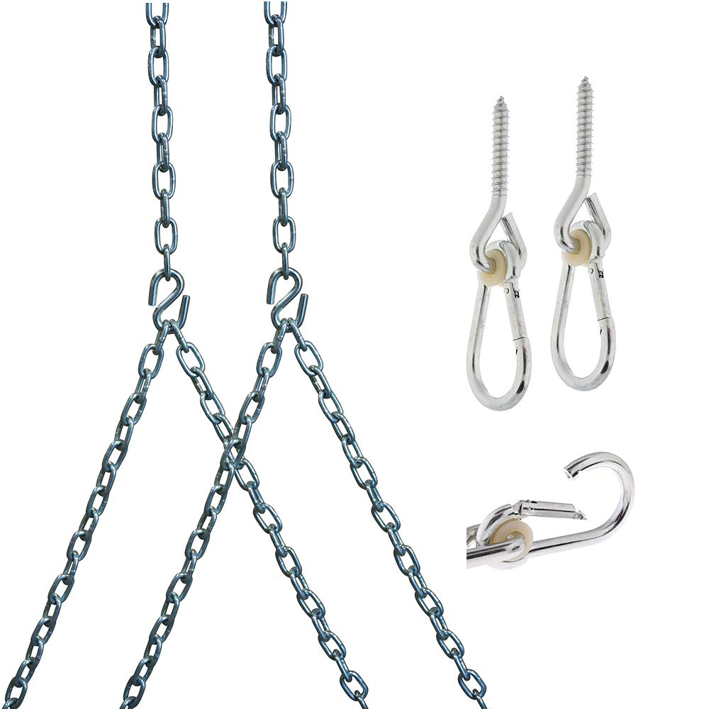 Barn-Shed-Play Heavy Duty 700 Lb Porch Swing Hanging Chain Kit - Color: Silver (8 Foot Ceiling) by Barn-Shed-Play
