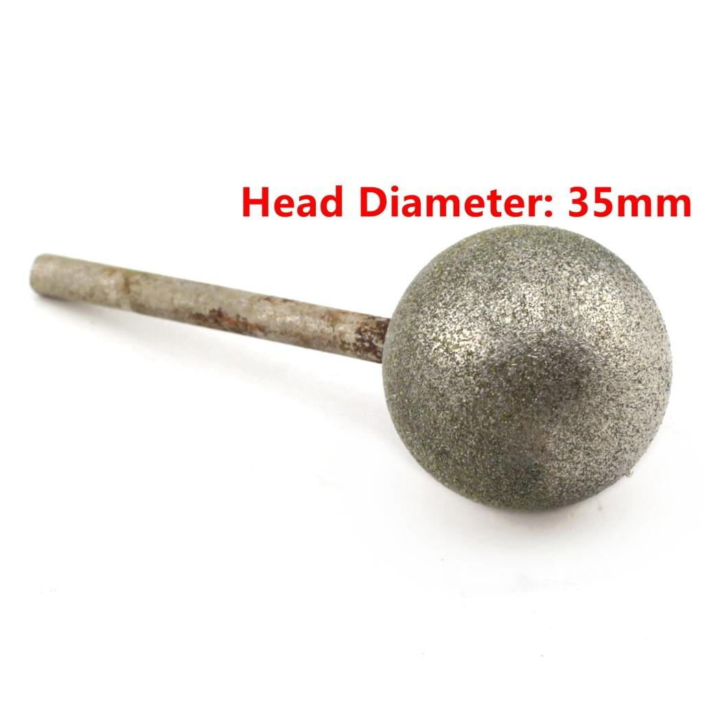 ILOVETOOL 35 mm Dia Spherical Head Diamond Grinding Bit Coated Mounted Points Round Ball Burs Grit 80 Shank 6mm Coarse Tools for Stone