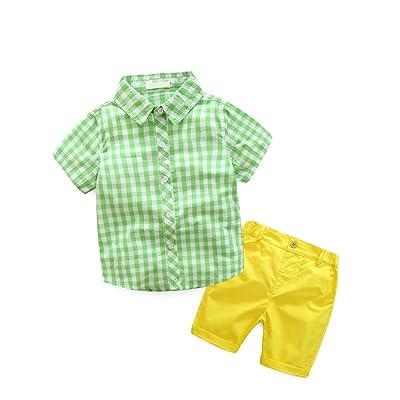 Abolai Kids Boys' 2 Pieces Short Set-Woven Plaid Cotton Shirt+Shorts