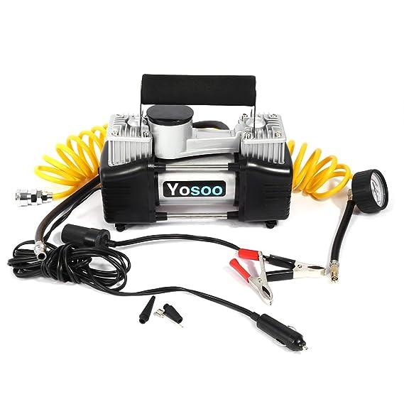Yosoo 12V 150PSI 2 Cilindros Bomba de Compresor de Aire de Neumático Inflador Eléctrico de Llantas de Coche Camioneta: Amazon.es: Coche y moto