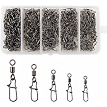 Shaddock Fishing 210pieces/box Fishing Swivel Snap Connectors Size 2 4 5 6 8 High-strength Fishing Rolling Swivels with Nice Snaps Fishing Tackle Kit (100% Copper+Stainless Steel)