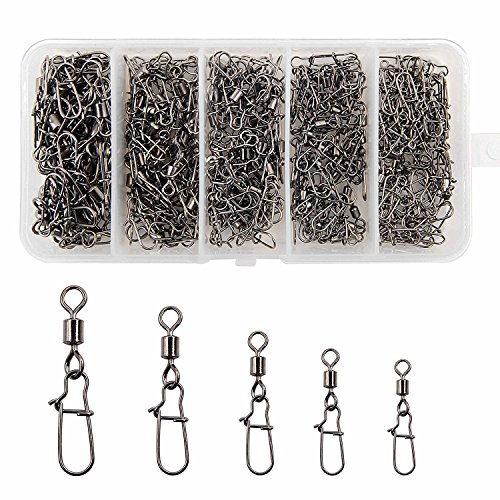 Shaddock Fishing 210pieces/box Fishing Swivel Snap Connectors Size 2 4 5 6 8 High-strength Fishing Rolling Swivels with Nice Snaps Fishing Tackle Kit (100% Copper+Stainless Steel) by Shaddock Fishing