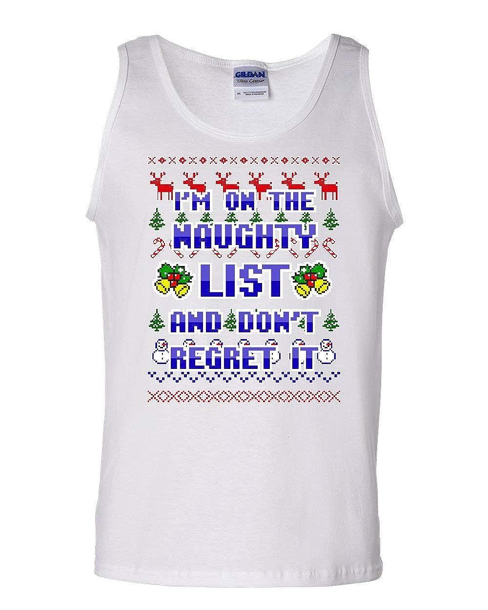 Im on The Naughty List Ugly Sweater Tank Top Funny Xmas Santa Sleeveless