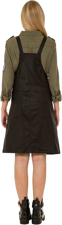 Vestido Dungaree Efecto de Cuero - Negro Peto Falda Penny: Amazon.es: Ropa y accesorios