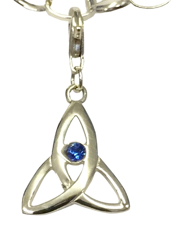 Sterling Silver Celtic Trinity Birthstone Clip On Charm Set With A Swarovski Aqua Marine Crystal - March B&W 15557