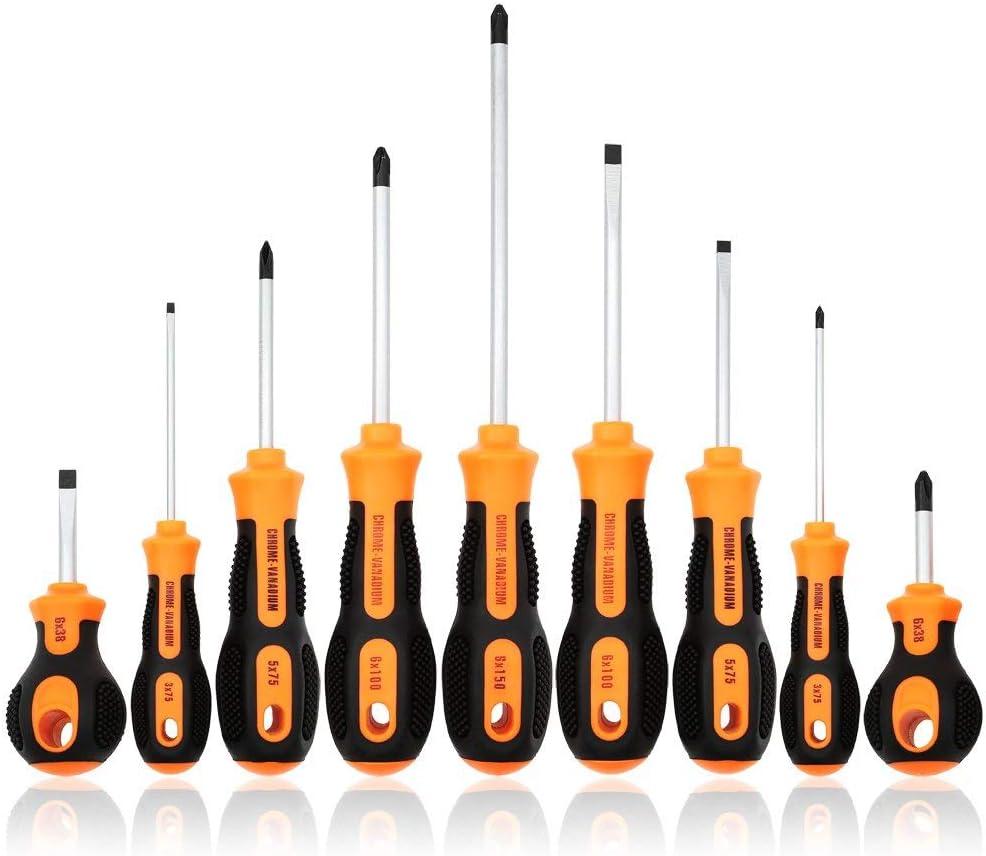 E·Durable 9pcs Juego Destornilladores de precisión con punta magnética ahorro de mano multifuncional herramienta Phillips y Flathead destornillador y cómoda manija antideslizante pesada