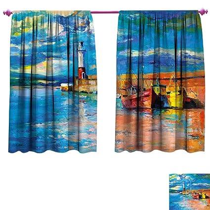 Amazon Com Art Window Curtain Fabric Oil Painting Tones