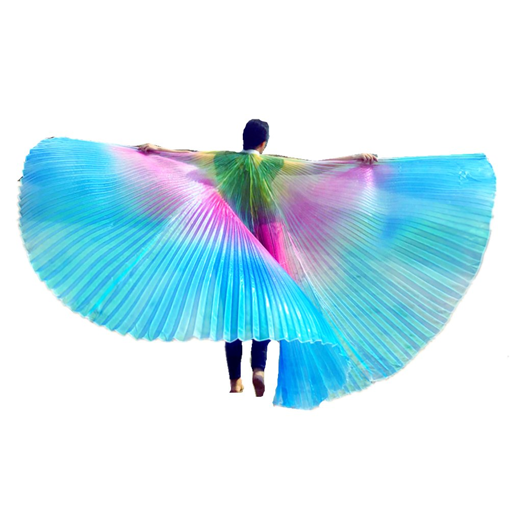 Belly Dance Isis Wings, Flash Cloak Costumes, with Sticks Road Clothing Carnival Halloween Night Club Performance (Multicolor)