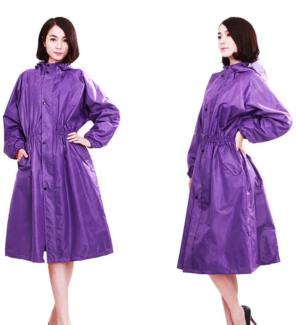 ZEMIN Regenjacke Poncho Windjacke Wasserdicht Abdeckung Regenponcho Windjacke Langer Mode Atmungsaktiv, 2 Farben, M (Farbe   Elegant lila, größe   M)