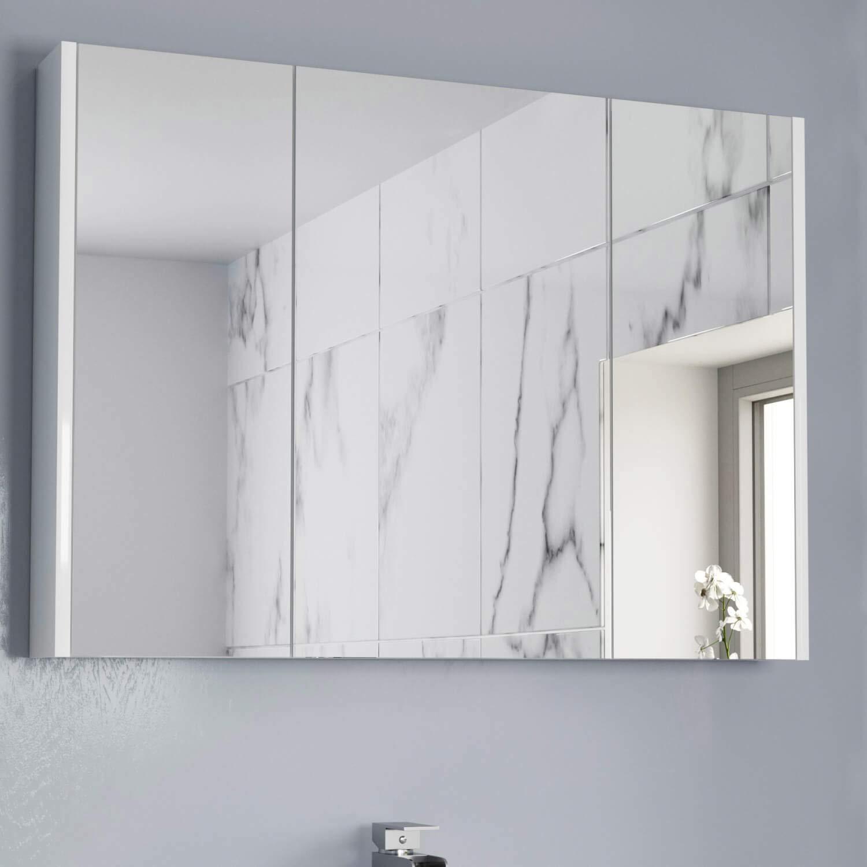 AURORA 4mm Bathroom Mirror Cabinet 4 Door Storage Cupboard Wall Hung  Modern White