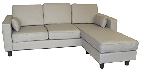 Strange Pu Leather Corner L Shaped 3 Seat Sofa Couch Settee Beige Dark Light Grey Chaise Legs Light Grey Pdpeps Interior Chair Design Pdpepsorg