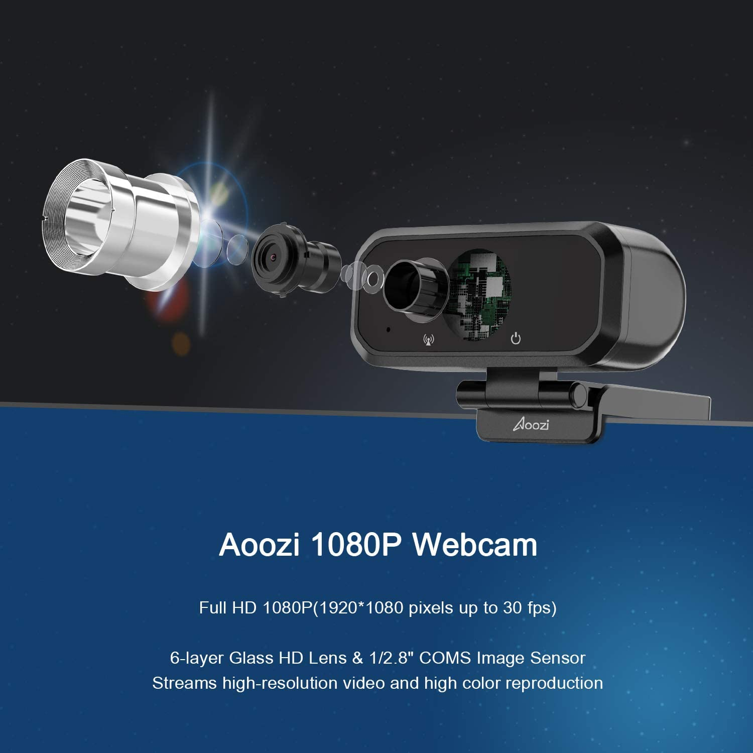 120 Degree Widescreen Web Camera Aoozi Upgrade Webcam Video Camera for Calling Conferencing Full HD 1080P Webcam with Privacy Cover and Tripod USB 3.0 Web Camera with Microphone