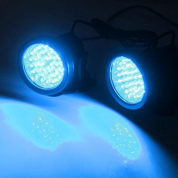 Paquete 2 Lámpara Acuario Sumergible Submarino (4.2W, 36 LED, Luz Azul, IP68 Impermeable, 180 Grados Ajustable, con Ventosa) Iluminación para Pecera: ...