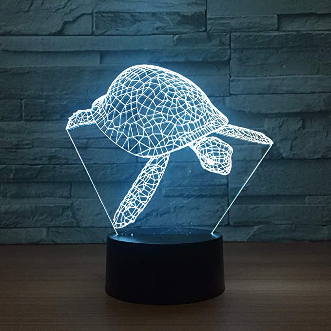 KangYD Lámpara Visual 3D De Tortuga Marina, Luz Nocturna LED, Luz ...