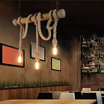 Hanfseil Bambus Pendelleuchte Retro Vintage Seilleuchte Seil Lichter