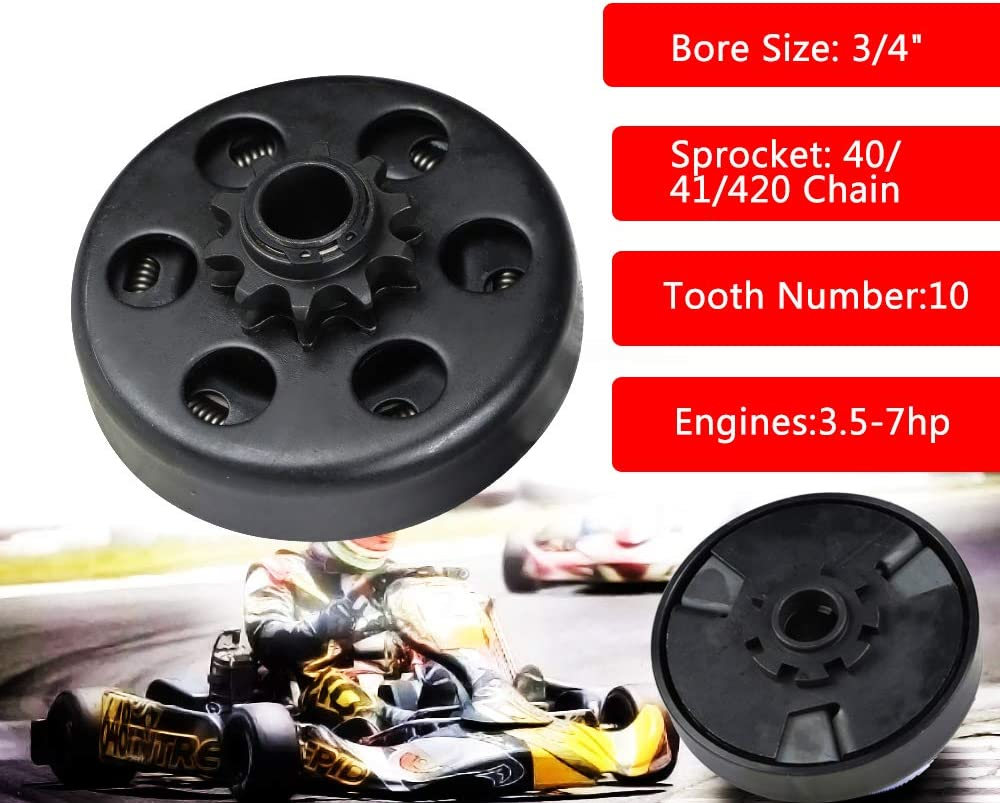 Riding Mowers FLYPIG Go Kart Minibike Centrifugal Clutch for Go-Karts Snow Throwers 3//4 Bore 10T