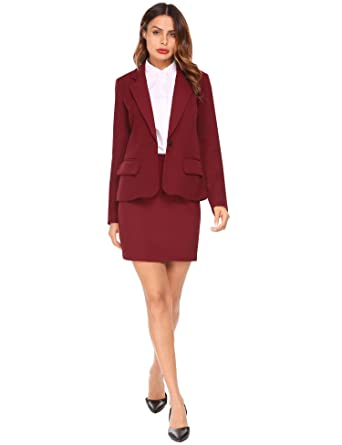 0035eed9a3fea Burlady Women Business Suit Formal Casual Wear to Work Office Blazer Dress,  Wine Red,
