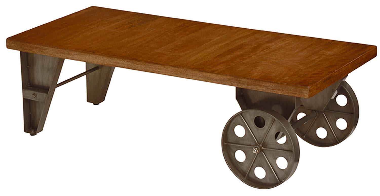 ローテーブル センターテーブル リビングテーブル トロリーテーブル カフェテーブル キャスター付き 幅110cm 男前テーブル インダストリアル ヴィンテージ スチール 車輪 スタイリッシュ おしゃれ 北欧 B07SG2VNG3
