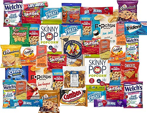 40 Count College Care Package Snacks Variety Pack - Individually Wrapped Single Serve Goodies - Assortment of Candy, Cookies, Chips, Popcorn, Peanuts, Gum, By The Cup Snack Mix and More Snack Pack for $<!--$27.99-->