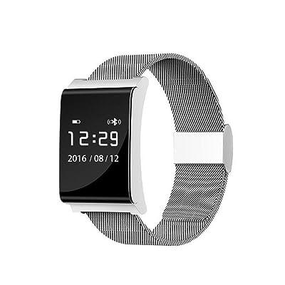 22DDUWIN Intelligent Bracelet Bluetooth Wristband IP67 étanche Calorie Tracker Sport poignet Podomètre Santé Sommeil Moniteur Wristband message Call Remind Band Anti Perdu Pour Android IOS , silver steel