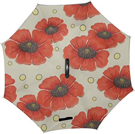 Double Layer Inverted Inverted Umbrella Is Light And Sturdy Flowers Floral Leaf Buds Reverse Umbrella And Windproof Umbrella Edge Night Reflection