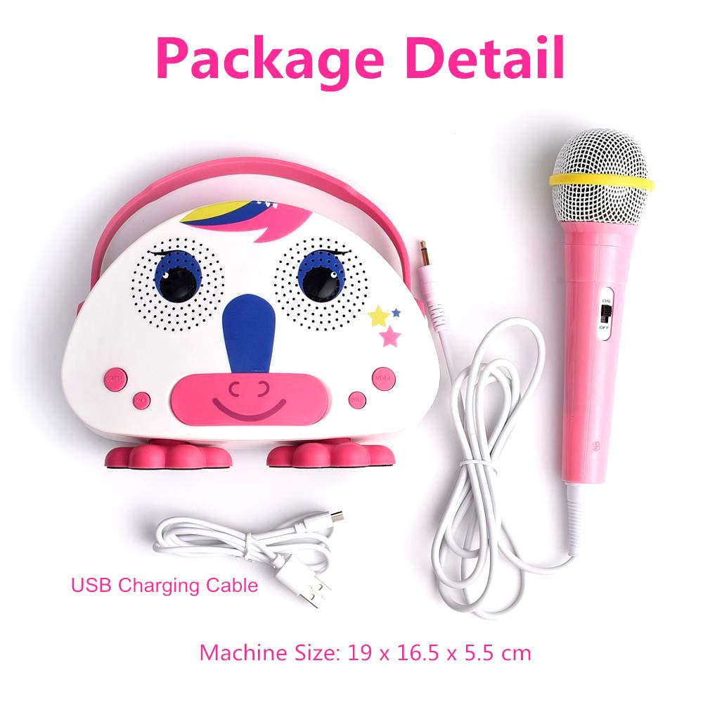 OceanEC Kids Bluetooth Karaoke Machine with Microphone, Rechargeable Children's Wireless Loudspeaker Portable Cartoon Karaoke Music MP3 Player Toy with Microphone for Party Gift (Pink) by OceanEC (Image #5)