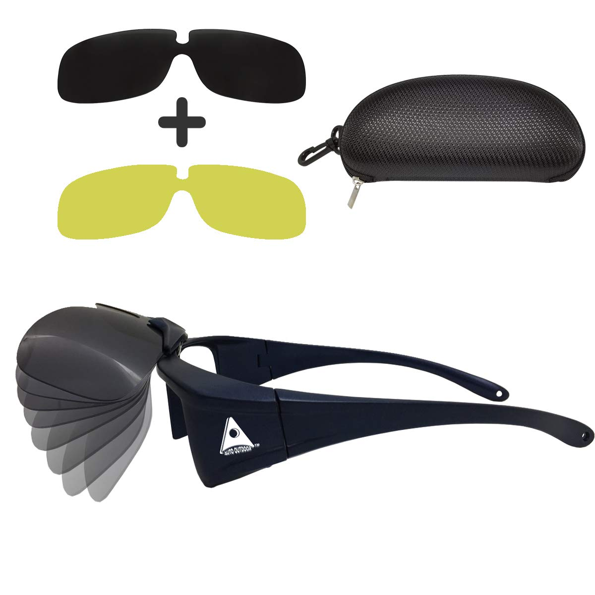 Auto Outdoor Polarized Driving Glasses, Multi-functional Sunglasses for Day and Night with Switchable Night Vision Lenses, 100% of UV400 protection, Fit-over Eyewear for Man and Women by Auto Outdoor (Image #1)