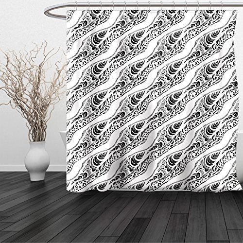 HAIXIA Shower Curtain Abstract Animal Skin Patterns Monochrome Zebra Panther Lion and Other African Creatures Black White