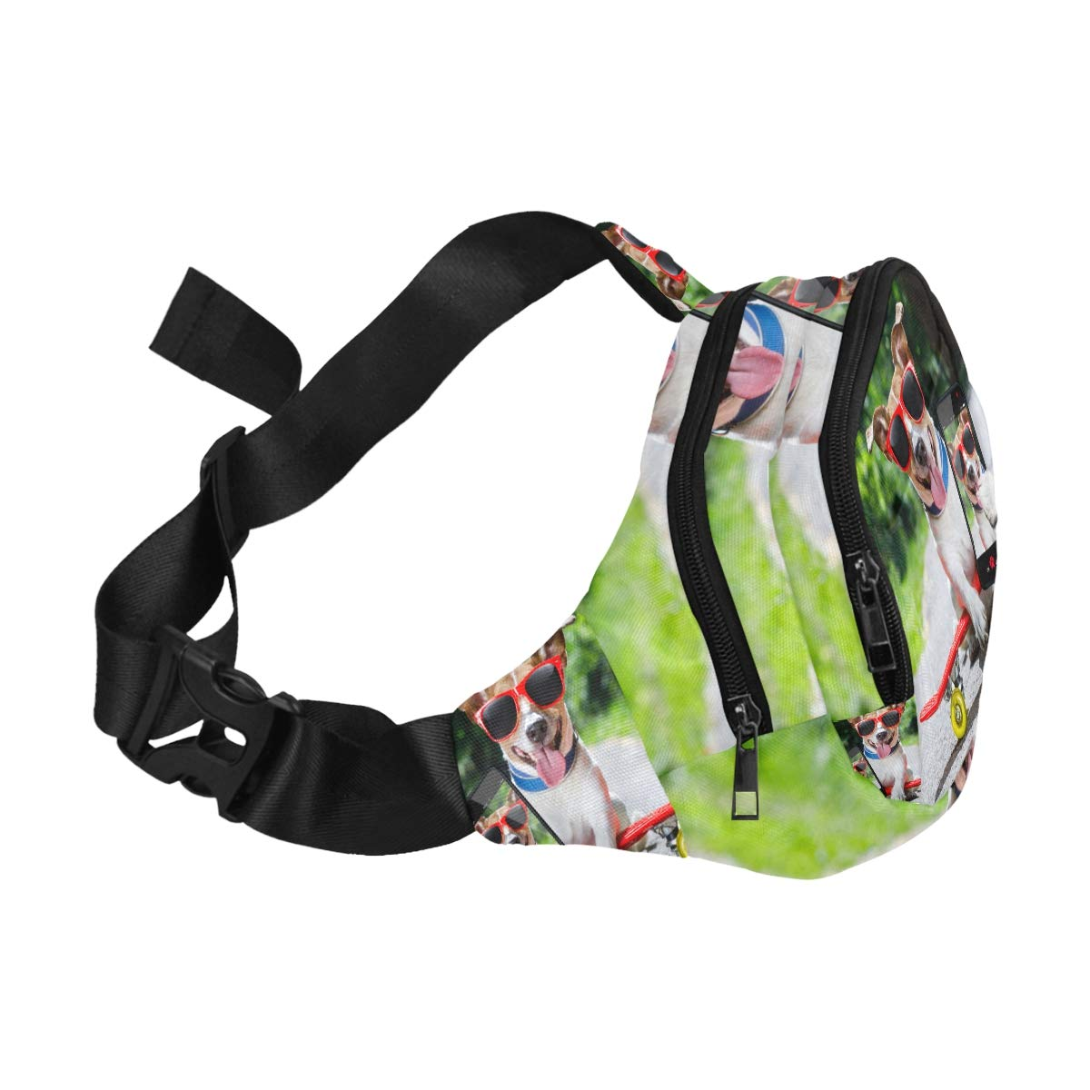 The Cute Dog Rides On A Skateboard Fenny Packs Waist Bags Adjustable Belt Waterproof Nylon Travel Running Sport Vacation Party For Men Women Boys Girls Kids