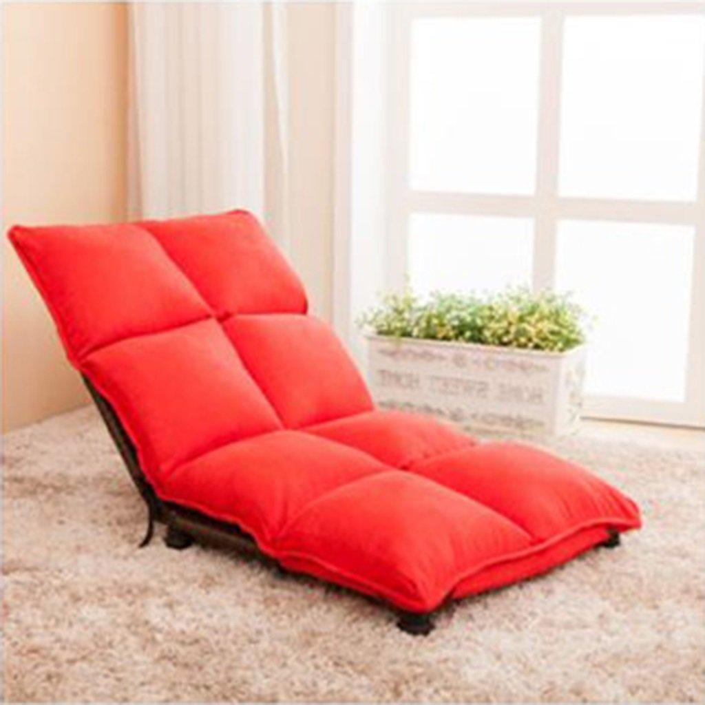 バックサポート、調節可能な14の位置で大人のための怠惰なソファを折りたたむ腕時計テレビゲームのための床の椅子昼間の残りのナップ、完全に組み立てられた (色 : 赤) B07DQJ29BC赤