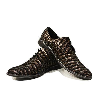 Modello Tartaruga - 40 EU - Cuero Italiano Hecho A Mano Hombre Piel Marrón Zapatos Vestir Oxfords - Piel de Cabra Cuero Repujado - Encaje 6INNTNp