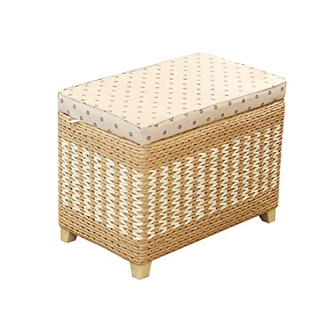 Enjoyable Amazon Com Dww Rattan Woven Ottoman Flip Top Storage Box Squirreltailoven Fun Painted Chair Ideas Images Squirreltailovenorg