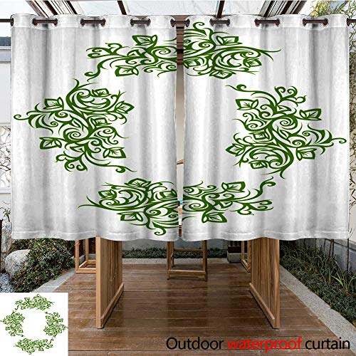 RenteriaDecor Outdoor Balcony Privacy Curtain Retro Frame Oval Floral Pattern of Green Color on a White Background W96 x L72
