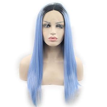 SHKY negro/azul Ombre sedoso recta de encaje sintético pelucas frontales peluca azul recta con