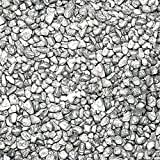Safe & Non-Toxic (Standard Size, 0.34'' to 0.37'') 25 Pound Bag of ''Acrylic Coated'' Gravel, Rocks & Pebbles Decor for Freshwater & Saltwater Aquarium w/ Light Modern Grecian Style [Silver & Gray]