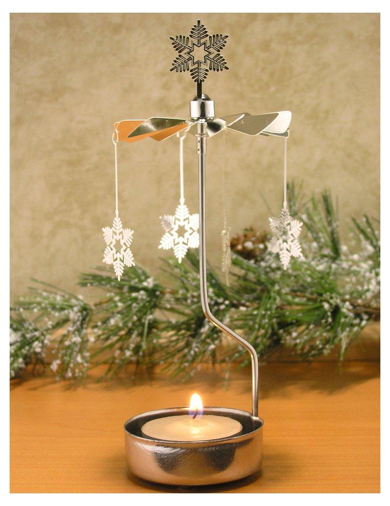 """Snowflakes Spinning Tealight Candle Holder Scandinavian Design Metal 6.5"
