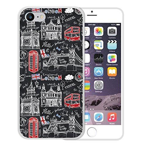 iPhone 8 Hülle, WoowCase Handyhülle Silikon für [ iPhone 8 ] London Symbole Handytasche Handy Cover Case Schutzhülle Flexible TPU - Transparent
