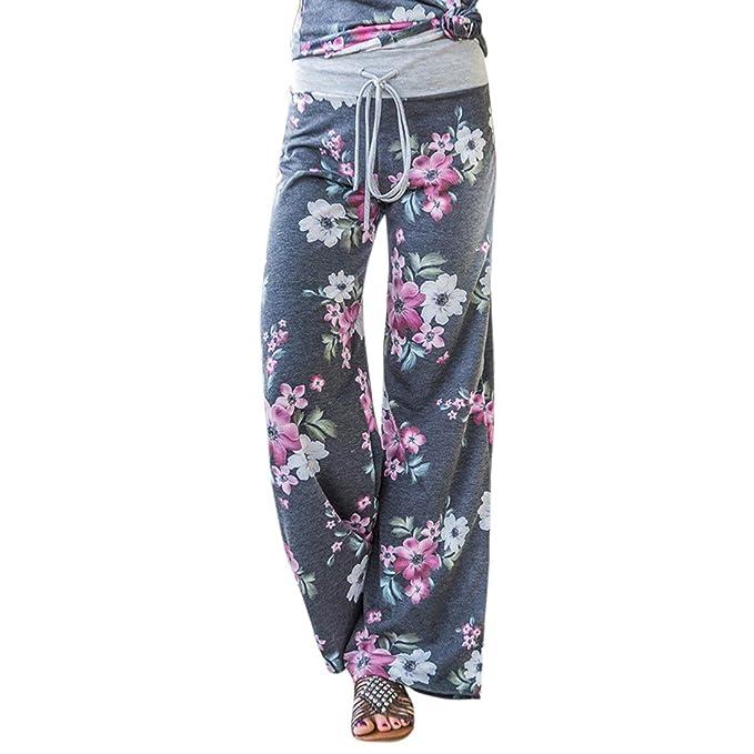 Mujer Pantalones Anchos de Pierna Pantalón Floral Impreso Suave Yoga Fitness Deportes Tallas Grandes S-3XL Gris L
