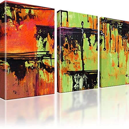 abstraction canvas wall art green 3 part 135 x 80 cm amazon co