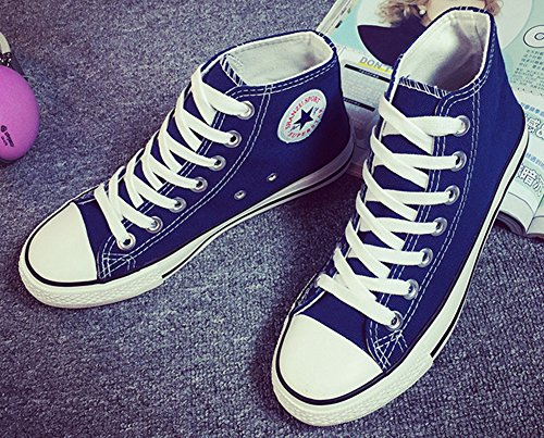 Popuus Heren Trendy Hoge Top Canvas Sneakers Blauw