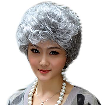 Amazon.com   NIBOKA Short Silver Grey White Wigs Old Women Synthetic Hair  Wigs For Mother Mom Office Middle Ages Lady Costume Wigs   Beauty 415bf2bcbc